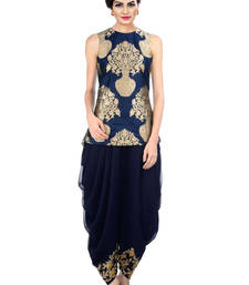 Buy indo western dhoti pant with jacket by Ravechi Fab (Navy blue) indowestern online