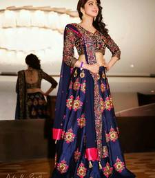 Buy navy blue banglori embroidered unstitched lehenga choli navratri-lehenga-chaniya-choli online