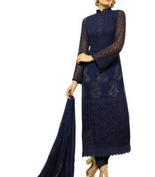 Buy Blue georgette embroidered semi stitiched salwar with dupatta eid-special-salwar-kameez online