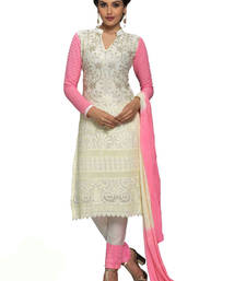 Buy Off white georgette embroidered semi stitiched salwar with dupatta pakistani-salwar-kameez online