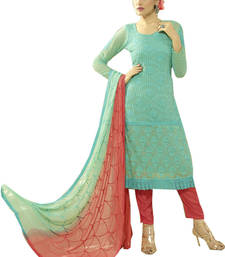 Buy Light sky blue georgette embroidered semi stitiched salwar with dupatta pakistani-salwar-kameez online