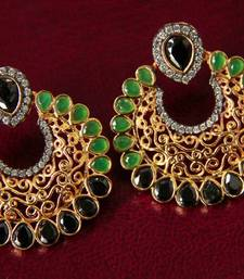 Buy Black & Green Filigree Earrings stud online