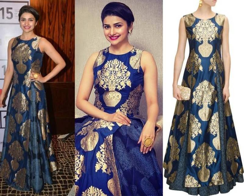 Buy Prachi Desai Blue And Gold Banarasi Jekard Free Size Semistitched Plazo Bollywood Salwar Online