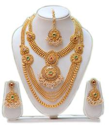 Buy South indian traditional antique green maroon kundan haram set south-indian-jewellery online