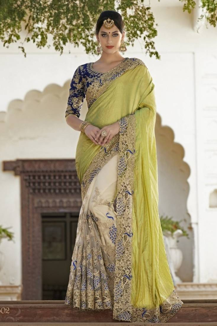 Buy Bikaw Embroidered Green Silk Traditional Partywear