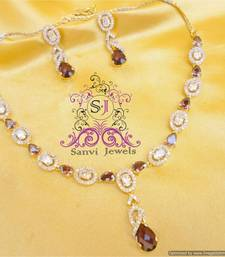 Buy Elegant Rhodolite Diamond Look Necklace Set  Necklace online