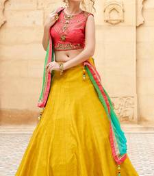 Buy Peach and yellow embroidered banglori silk unstitched lehenga choli lehenga-choli online