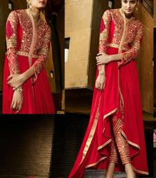 Buy Red georgette embroidered semi stitiched salwar with dupatta salwars-and-churidar online