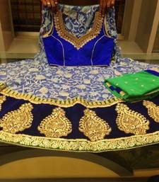 Buy Blue and green designer net lehenga choli readymade-lehenga-choli online
