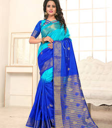 Buy Royal blue plain banarasi silk saree with blouse banarasi-saree online
