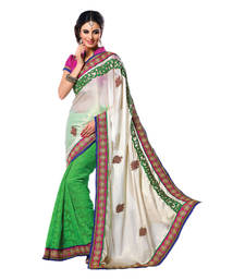 Buy Hypnotex Off White Green Satin Chiffon   Cotton Jacquard Saree  Bhakti2718 party-wear-saree online
