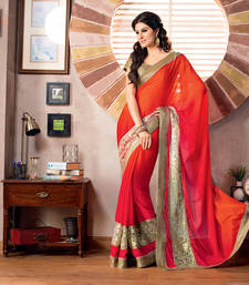 Buy 2 States by Vishal Pink Orange Georgette Saree 32621 art-silk-saree online