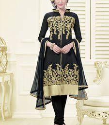 Buy black embroidered chanderi unstitched salwar with dupatta salwars-and-churidar online