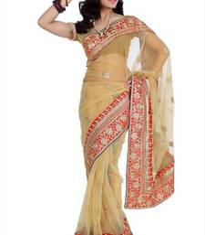 Buy Beige net saree with unstitched blouse (amr1352) net-saree online