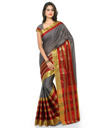 Buy Grey woven cotton silk saree with blouse banarasi-saree online