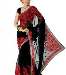 Black faux georgette saree with unstitched blouse (nlm1379) shop online