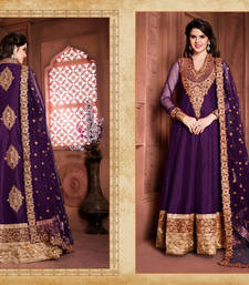 Buy Purple silk embroidered semi stitiched salwar with dupatta anarkali-salwar-kameez online