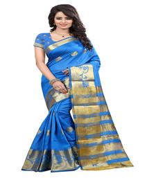 Buy blue Printed tissue saree with blouse tissue-saree online