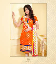 Buy Designer Orange And White Unstitched Chanderi Cotton Dress dress-material online