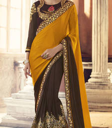 Buy Mustard embroidered crepe saree with blouse crepe-saree online