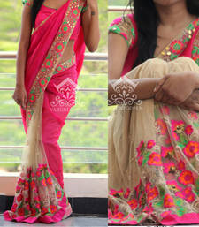 Buy Pink embroidered net saree with blouse net-saree online