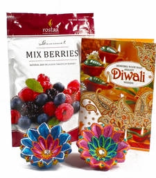 Buy Mix berries treat with diwali card and earthen diyas diwali-chocolate online