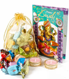 Buy Assorted chocolate with diya and diwali card combo diwali-chocolate online