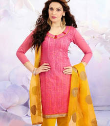 Buy New Peach And Yellow Salawar kameez dress-material online