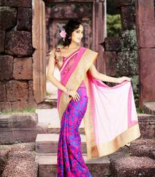 Buy Pink & Blue Floral Silk Saree silk-saree online