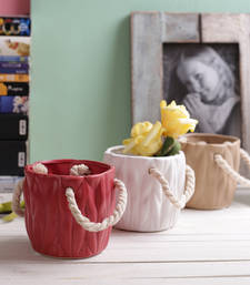 Buy Red white and beige bucket style 8.5 cm planter pots diwali-decoration online