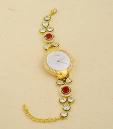 Buy Kundan  and  stone studded adjustable wrist watch for women gifts-for-girlfriend online