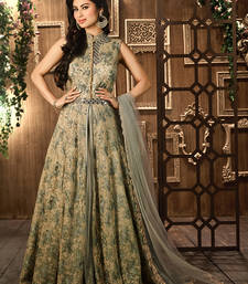 Buy Grey embroidered net semi stitched salwar with dupatta party-wear-salwar-kameez online