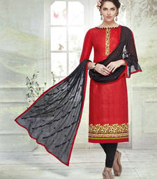 Buy Maroon embroidered cotton unstitched salwar with dupatta ethnic-suit online