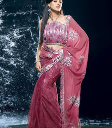 Buy Hypnotex Pink Faux Georgette Net Saree Jewel509 georgette-saree online