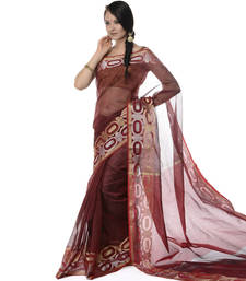 Buy Maroon woven super net saree with blouse supernet-saree online