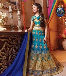 Buy blue embroidered Net kids lehenga choli kids-lehenga-choli online