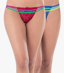 Buy PrettySecrets Lace Strappy Thong (Pack Of 2) panty online
