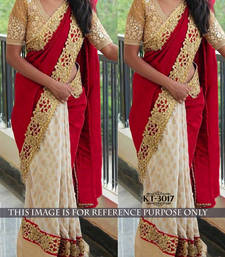 Buy Maroon embroidered georgette saree with blouse jacquard-saree online