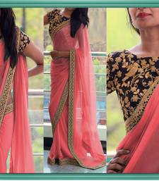 Buy Rose embroidered georgette saree with blouse valentine-gift online