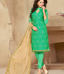 Buy Green embroidered art silk unstitched salwar with dupatta ethnic-suit online
