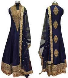Buy Blue embroidered cotton silk semi stitched anarkali salwar suit with dupatta. wedding-salwar-kameez online