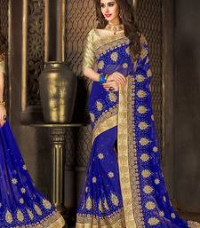 Buy Blue embroidered chiffon saree with blouse party-wear-saree online