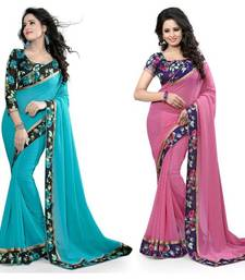 Buy Multicolor plain georgette saree with blouse georgette-saree online