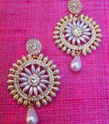 Buy Pretty Pearl Flower with sparkling AD work in a golden hue India earring o5 danglers-drop online