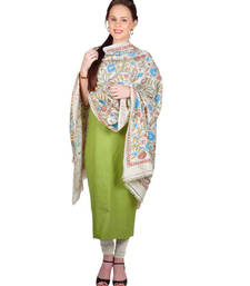 Buy Hand Crafted Kantha Work Tusser Silk Dupatta With Suit stole-and-dupatta online