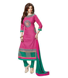 Buy Pink embroidered georgette semi stitched salwar with dupatta salwars-and-churidar online