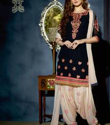 Buy Navy blue georgette embroidered unstitched salwar with dupatta punjabi-suit online