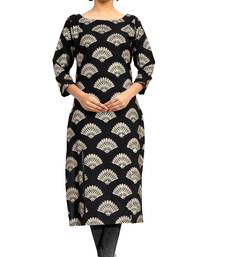 black crepe printed stitched kurti shop online
