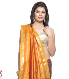 Buy Chocolate Brown Orange Rich Gold Zari Art Silk Saree gifts-for-mom online