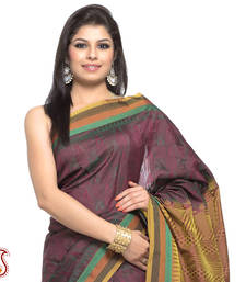Buy Glossy Green Damask Patterns with four striper border and Rich Pallu gifts-for-mom online